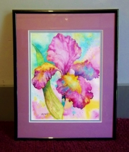 Watercolor Iris donated by Mel Scott