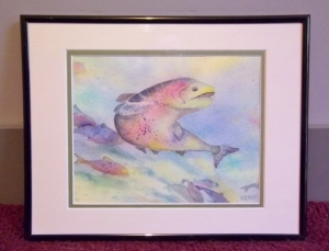 Salmon-themed art sold through the silent auction.