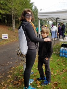 Rachel Langmaid as the Fly and son Henry who helped at the sign-up booth